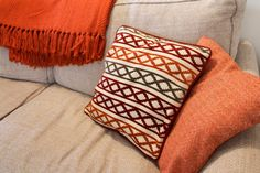 Dunelm's Maddox & Nico Terracotta Cushion Covers, with a Carlisle Terracotta Chevron Throw (so soft!!) make for a cosy sofa. | Perfect soft furnishings for an Autumn colour-scheme lounge. | Amy Tinson Photography