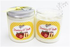 "Whipped Sugar Scrub Soap ""Sweet Heart"" (Cream Soap with fair trade sugar, scent: Strawberry Cheese Cake)"