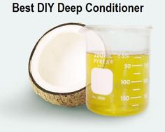 coconut-oil-deep conEasiest DIY Deep Conditioner-Ever!  Are you ready for this complex and hard to remember recipe?  Get out your notepad! 2 parts olive oil 1 part coconut oil  2 ingredients- that's it!  Of course how much you use will depend on your hair.  Is it long?  Is it short?  Is it thick?  Is it fine?  So, just follow the ratio above, and you will be fineditioner