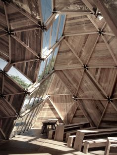 Peoples Meeting Dome in Bornholm, Denmark. by Architects Kristoffer Tejlgaard Benny Jepsen. Wood Architecture, Amazing Architecture, Temporary Architecture, Installation Architecture, Geodesic Dome Homes, Deconstructivism, Dome House, Interior And Exterior, Interior Design