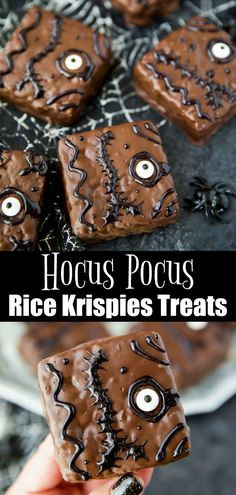Hocus Pocus Rice Krispies Treats - your family will love this spooky Halloween dessert! Rice Krispies covered in chocolate and decorated like the Hocus Pocus spell book Halloween Donuts, Halloween Cocktails, Halloween Snacks, Disney Halloween, Halloween Torte, Halloween Backen, Pasteles Halloween, Dessert Halloween, Halloween Kind