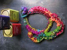 Boho necklace silk yarn necklace multicolor by WearitCrochet