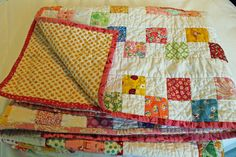 Polka Dot Quilts: Girlie I-Spy Sqare in a Square/ Economy Block Quilt