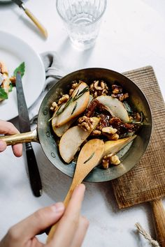 French toasts with caramelised pears with walnuts, Camembert and arugula by Marta Greber