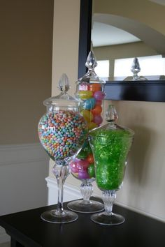 Spring apothecary jar fillers. Could make a cute Easter table scape!