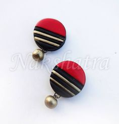 Looking to buy Terracotta online? Huge collection of Terracotta available in different colors, patterns, designs & price ranges. Terracotta Jewellery Making, Terracotta Jewellery Designs, Terracotta Earrings, Wooden Earrings, Clay Earrings, Beaded Earrings, Quilling Studs, Quilling Jewelry, Polymer Clay Jewelry