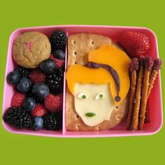 What you'll need Cinderella Bento Contents: Cucumber and cream cheese sandwich with Cinderella topper Fairy Godmother Pretzel Wands Berry Je...