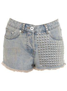 Silver Studded Denim Shorts