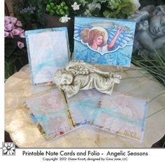 Angel Theme - Printable Note Card Box and Quarter Sheet Note Cards - Hope, Faith, Joy -Free Printables, Free Graphics, Free Kits, Free Digital Clip Art, Graphics and Backgrounds for Scrapbooking, Gina Jane Designs - DAISIE Company
