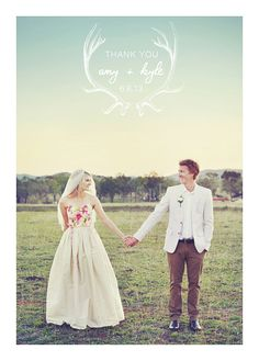 Wedding Thank You Postcards: Antlers // not just a beautiful card, but look at that dress bodice!