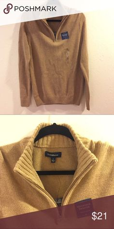 Camel mockneck half zip sweater This is a small men's half is that sweater brand-new brown tan neutral khaki. perfect for family or senior pictures Thanksgiving Christmas party work office or just casually very nice quality thick well-made sweater. croft & barrow Sweaters Zip Up