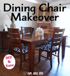 Don't pay to have dining chairs reupholstered when it's an easy DIY dining chair makeover project for your seat covers. Get a professional look with this easy tutorial and save $40 per chair. #GirlJustDIY this budget makeover upholstery. #upholstery Decor Crafts, Diy Home Decor, Dining Chair Makeover, Diy On A Budget, Seat Covers, Easy Diy Projects, Diy Woodworking, Cozy House, Homemaking