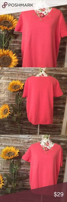 Alfred Dunner XL  55% Ramies 45% EUC Dark pink and same color flowers with beads. Measurements underarm to underarm about 24 1/2 inches and Shoulder to bottom  of sweater about  24 1/2 inches. Alfred Dunner Tops Blouses