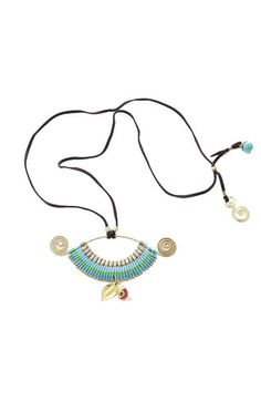 A unique tribal style necklace with turquoise colored waxed string and brass wire handmade in Northern Thailand.