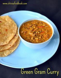 Green gram curry recipe - Sprouted green gram gravy for chapathi/ roti, rice - pachai payaru kuruma in Tamil !