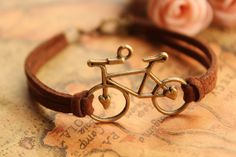 bike bracelet,retro bronze love bike alloy bracelet,brown and blue leather braid bracelet---B163