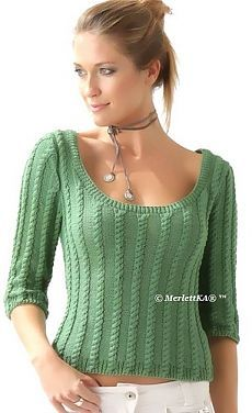 Knitting - a light weave pattern pullover with round neckline