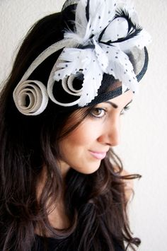 Black and White Fascinator Lucy Mesh Hat Fascinator by EyeHeartMe