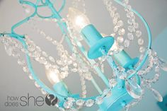 Have you saw a KRISTALLER chandelier from IKEA? It's cool for its price but it isn't as fancy as many other chandeliers on the market. Spray Painted Chandelier, Ikea Chandelier, Chandelier Makeover, Handmade Chandelier, Turquoise Chandelier, Chandeliers, Chandelier Ideas, How To Make A Chandelier, Little Girl Rooms