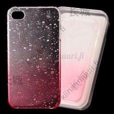 Pinkki läpikuultava kristalli/vesipisarat taka suojakuori, iPhone 4/4S