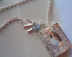 Silver Book Locket Necklace with Blue by RhondasTreasures on Etsy, $20.00