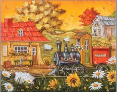 Christine Genest | Naive Art Promotions Storybook Cottage, Cottage Art, Naive Art, Scarfs, Countryside, Art Work, Folk Art, Primitive, Buildings