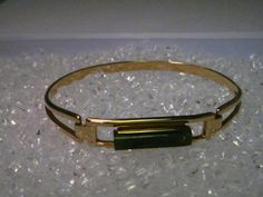 "Vintage Gold tone Avon Locking Bangle Bracelet with Jade, 6.5"", Post Mid-Century #Avon #bangleopenlocking"
