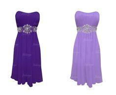 purple prom dress tea length prom dress hot pink prom by fitdesign, $107.00