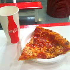 Costco pizza! $2.00 dollars a slice and a .59 cent drink 5x a week keeps money in my pocket. plus its fun to sneak in without a card. (I live life on the edge)