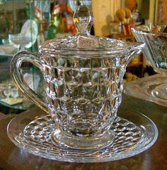 Fostoria American Syrup with Glass Lid & Under Plate  225.00