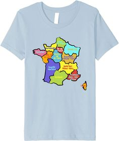 Amazon.com: Hand drawn France map, colorful Map of France with Regions Premium T-Shirt: Clothing Aquitaine, France Map, Rhone, Hand Drawn, How To Draw Hands, Colorful, Amazon, Clothing, Mens Tops