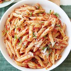 Penne With Sun-dried Tomato Pesto - 5 Ingredients or Less Recipes - Pasta Pasta Recipes For Two, Easy Healthy Pasta Recipes, Pasta Dinner Recipes, Pasta Dinners, Chicken Pasta Recipes, Giada Recipes, Dishes Recipes, Meals, Quick Recipes
