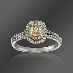 Ross-Simons - Henri Daussi .63 ct. t.w. Fancy Yellow and White Diamond Engagement Ring in 18kt Two-Tone Gold - #819858