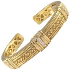 Judith Ripka Diamond Gold Bangle Bracelet | From a unique collection of vintage cuff bracelets at https://www.1stdibs.com/jewelry/bracelets/cuff-bracelets/