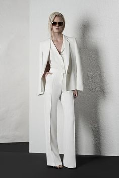 Angels Wedding Suit Concept Collared Halter Jumpsuit Blazer with a train
