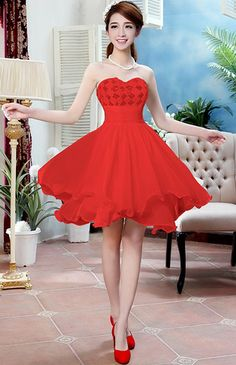 Fashion Strapless Off The Shoulder Knee Length Red Chiffon Bridesmaid Dress