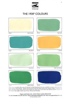 Papers and Paints Patrick Baty shade cards for 6 handpainted 1930s House Interior, 1930s Decor, House Exterior Color Schemes, Art Deco Colors, Shade Card, Paint Combinations, Deco Paint, Vintage Apartment, Art Deco Home