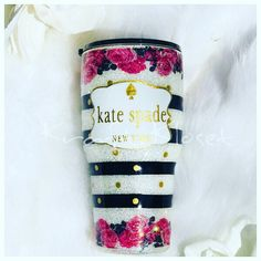A personal favorite from my Etsy shop https://www.etsy.com/listing/609075707/kate-spade-inspired-glittered-tumbler