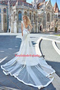 2017 cebra abierta espalda sirena vestidos de novia con cuello de cuentas tren desmontable
