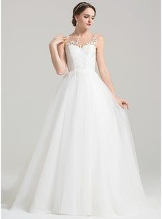 Ball-Gown Scoop Neck Sweep Train Tulle Wedding Dress With Ruffle Appliques Lace