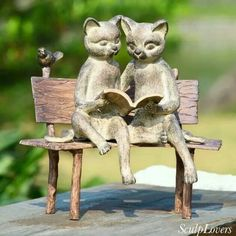 Made by SPI Home. Brand: SPI Home. Reading Cats on Bench Garden Statue by SPI Home. 725739336755 Part: The SPI Home Reading Cats on Bench Garden Statue measures Tall, Wide, and Deep. Material(s) used to construct: Aluminum. Outdoor Statues, Garden Statues, Garden Sculpture, I Love Cats, Crazy Cats, Cat Reading, Girl Reading, Cat Statue, Cat Garden