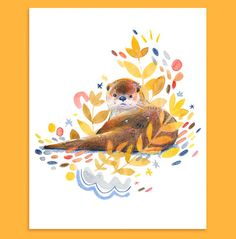 Otter Print on flat matte- 192 gsm paper Nature Illustration, Watercolor Illustration, Watercolour, Simple Cartoon, Kawaii, Illustrations And Posters, Creature Design, Cute Drawings, Cute Art