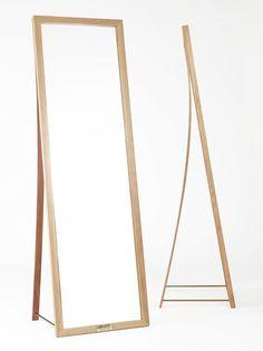 Freestanding rectangular oak mirror FRAMED | Mirror - Nordic Tales