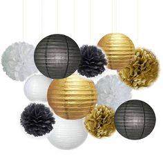 Lot de 12 mixte blanc noir or lanterne tissu Pom Poms