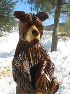 Chainsaw Carving Brown Bear Rustic Decor Hand Carved Wood Sculpture Art Statue