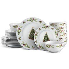 Dinnerware Sets Walmart, Casual Dinnerware Sets, Dinnerware Sets For 12, Fine China Dinnerware, Stoneware Dinnerware Sets, White Dinnerware, Tableware, Dinnerware Ideas, Christmas Dinnerware