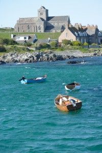 Iona Abbey on the island of Iona, Scotland - from the ferry, circa 1164