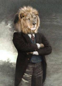 Zuba Vintage Lion Print Anthropomorphic Whimsical Art