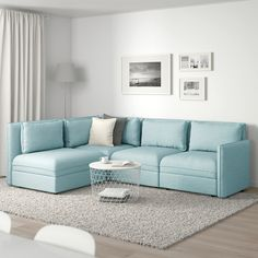 VALLENTUNA Mod sectional, 3 seat w slpr sect, and storage/Hillared light blue. One sofa, lots of possibilities. In need of extra beds, smart storage or a comfy reading corner? Modular Corner Sofa, Modular Sofa, Diy Sofa, Sofa Design, Ikea Vallentuna, Ikea Sofa, Plywood Storage, Flexible Furniture, Ikea Family