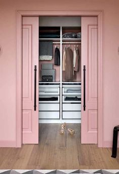 Pink Dreamy Closet |  Proper storage of clothing not only makes getting dressed easier as its less of a battle finding what to wear in an organised wardrobe, but by carefully hanging, folding and packing your garments, it also guarantees a longer lifespan. Our 5 tips on how to store your clothes will help keep your clothes shape, stop mould and moths, hold onto your clothing's financial value as well as avoiding landfill for longer. House, Home, Bedroom Closet Design, Bedroom Design, House Interior, Closet Decor, Dressing Room Design, Girl Bedroom Decor, Bedroom Built In Wardrobe